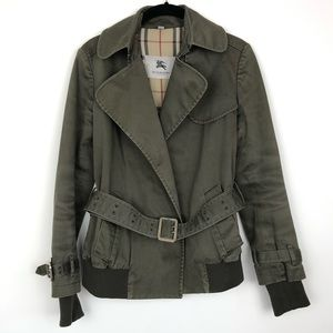 Burberry Jacket Military Army Green Belted